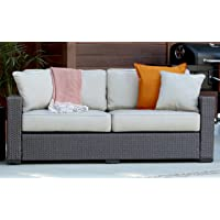 Serta Outdoor Collection Sofa with Cushions, Beige/Dark Brown