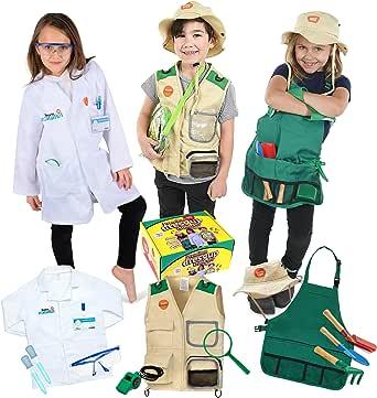 ملابس تلبيس بريميوم من بورن تويز للأطفال الذين تتراوح أعمارهم بين 3-7 سنوات - عالم - مستكشف للأطفال - جميع الأزياء تتضمن إكسسوارات وقابلة للغسل