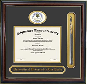 """Signature Announcements University-of-Wisconsin-Eau-Claire Undergraduate, Sculpted Foil Seal, Name & Tassel Graduation Diploma Frame, 16"""" x 16"""", Gloss Mahogany with Gold Accent"""