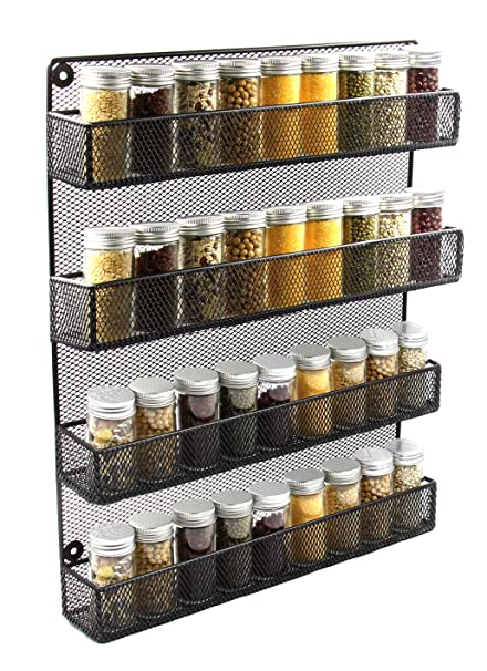 Esylife Wall Mounted Large 4 Tier Kitchen Spice Rack Organiser