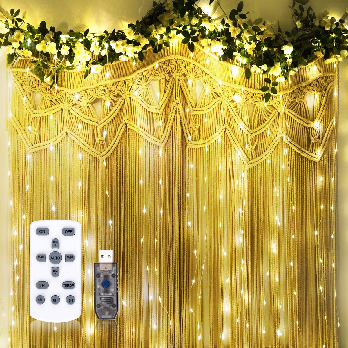 Twinkle String Lights with Remote Control Timer 300 Led USB Powered for Window Curtain Christmas Wedding Party Home Garden Patio Decoration Fairy Lights 118in x 118in (Warm Light)