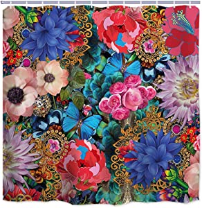ORTIGIA Boho Floral Fabric Shower Curtains Colorful Flower with European lace gem Bath Curtains Farmhouse Botanical Border Herbs Leaves Bathroom Decor Windows Curtain Polyester Waterproof 72x72 Inch