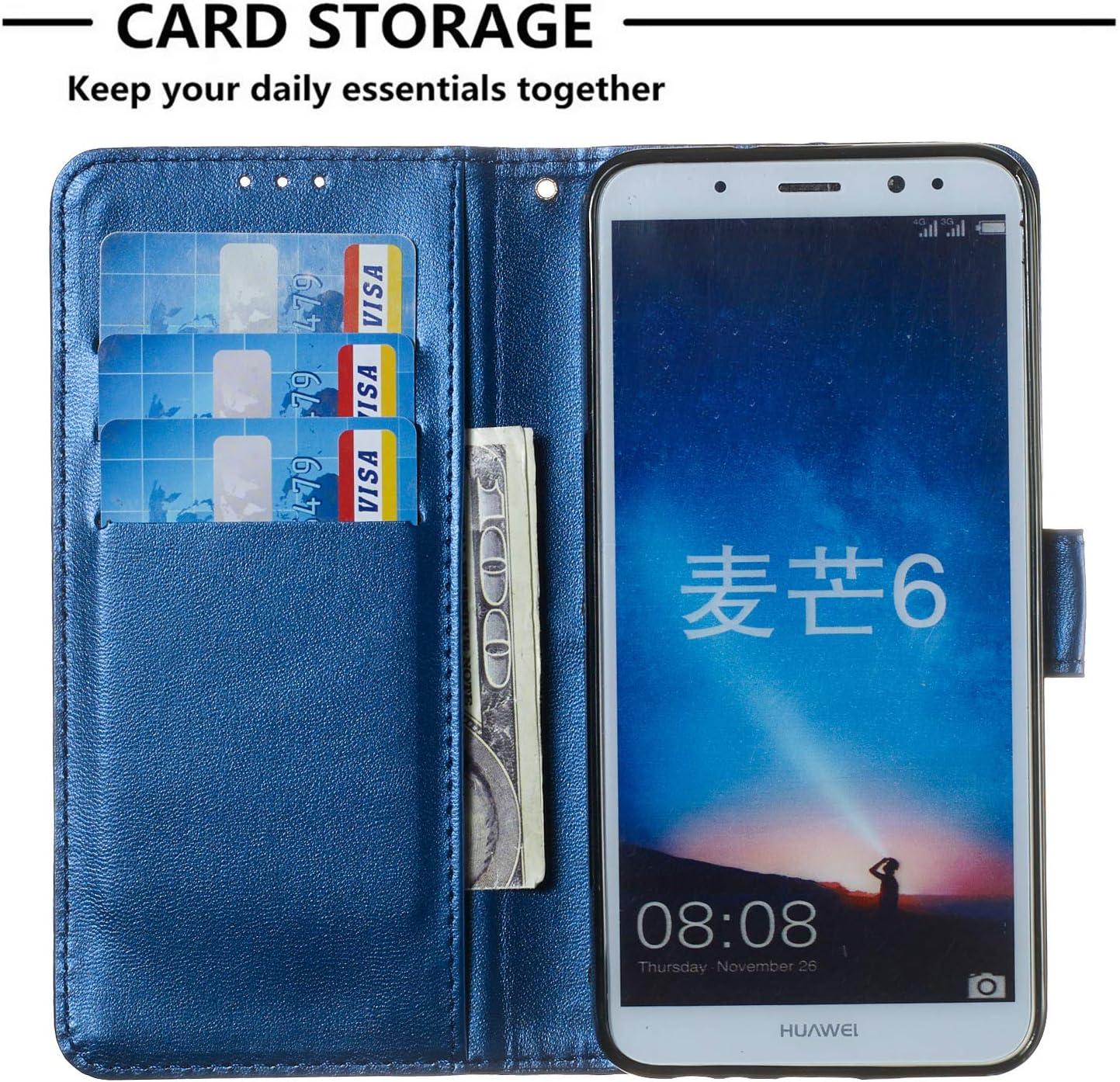 Lomogo Huawei Mate 10 Lite//Honor 9i//9N//nova 2i Case Leather Wallet Case with Kickstand Card Holder Shockproof Flip Case Cover for Huawei Mate 10 Lite//G10 LOYHU250276 L1