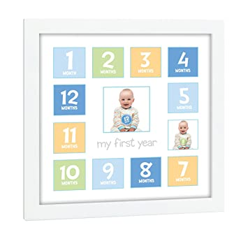 Tiny Ideas Babys First Year Keepsake Picture Photo Frame Bluegreenyellow