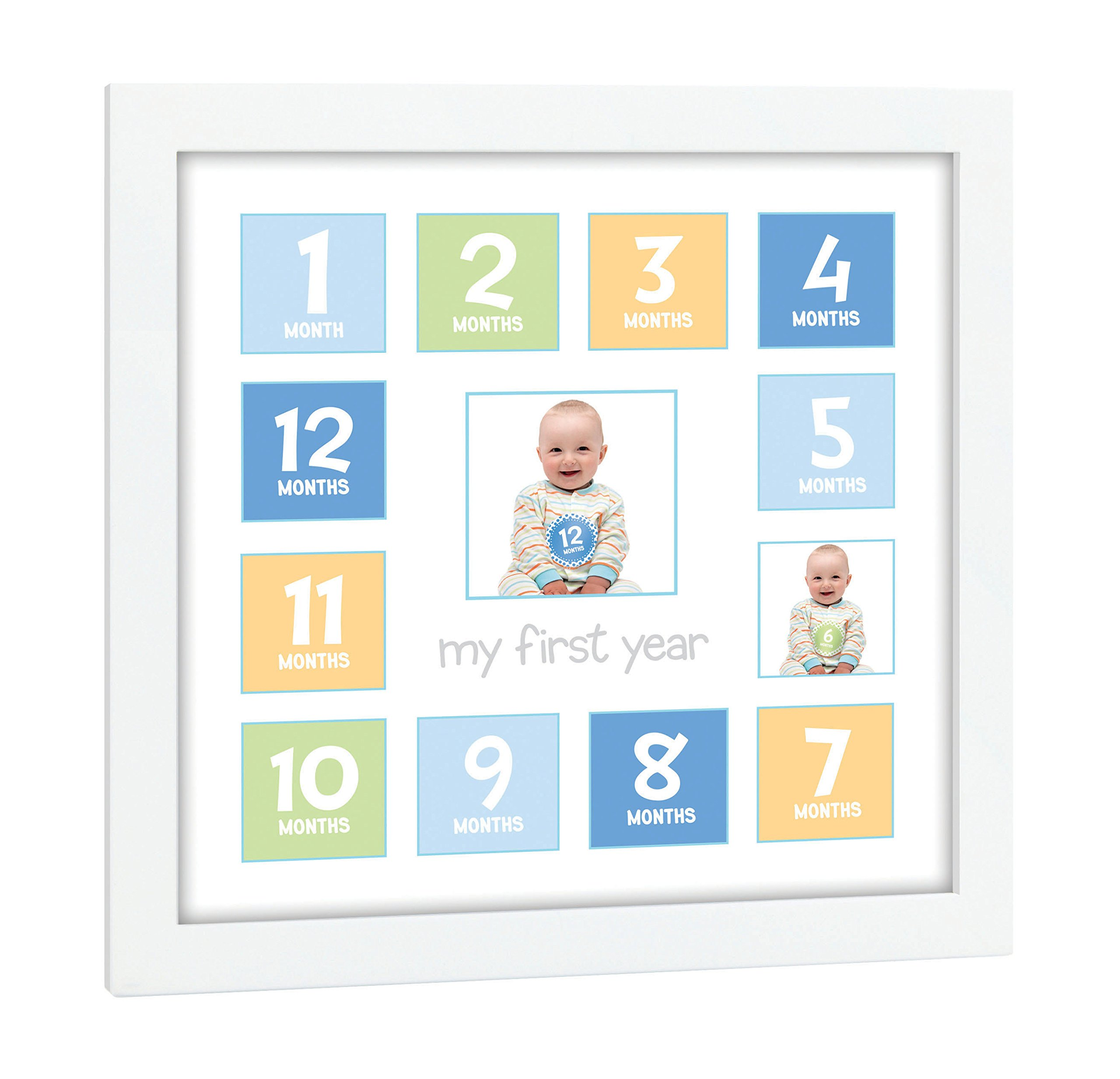 Tiny Ideas Baby's First Year Keepsake Picture Photo Frame, Blue/Green/Yellow