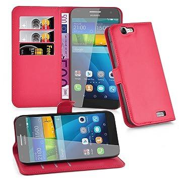 Cadorabo Carcasa para Huawei G7 móvil en Color Rojo carmín Funda con Tarjetero y función Atril Case Cover Carcasa Funda Book Style Carmín de Color ...