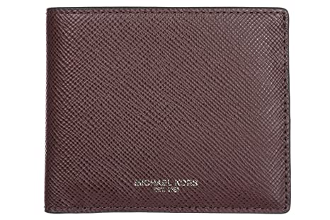 Michael Kors mens genuine leather wallet credit card bifold bordeaux at Amazon Mens Clothing store: