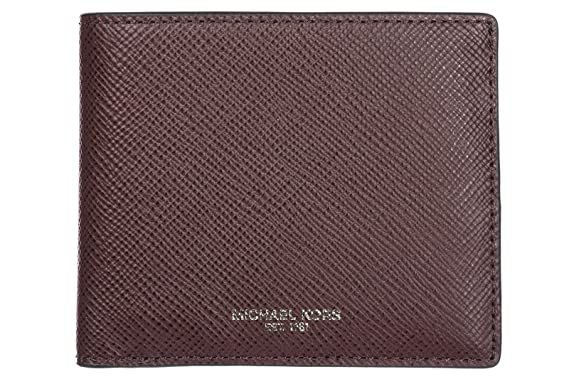 Michael Kors mens genuine leather wallet credit card bifold bordeaux