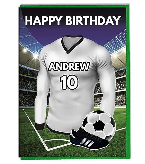Tarjeta de cumpleaños con temática de fútbol personalizable ...