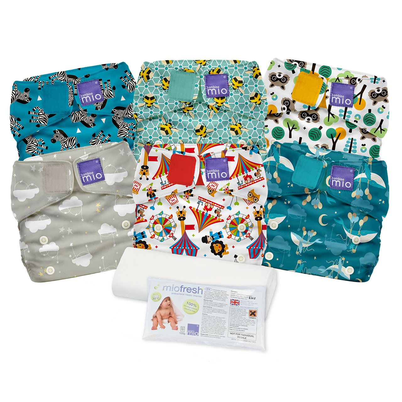 6 X Bambino Miosolo All In One Unisex Reusable Cloth Nappies Bundle Used Nappies