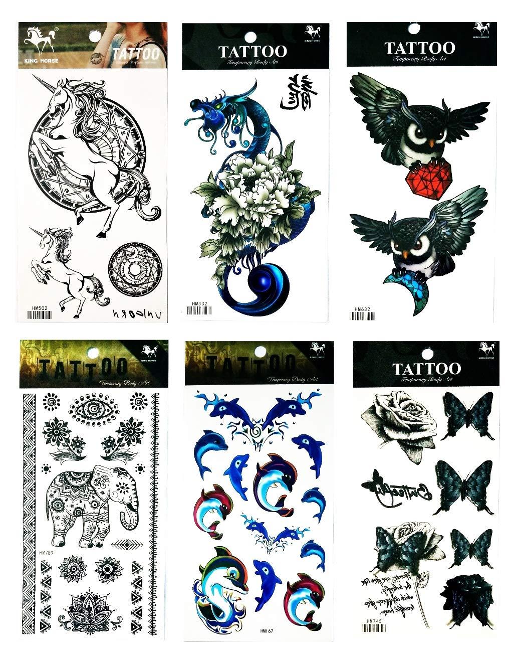 473b37b59f39a NipitShop Tattoos 6 Pcs Butterfly Beautiful Horse Unicorn Fairy Dragon  Flower Owl Diamond Eye Elephant Lotus Flower Buddha Temporary Tattoo Designs  for ...