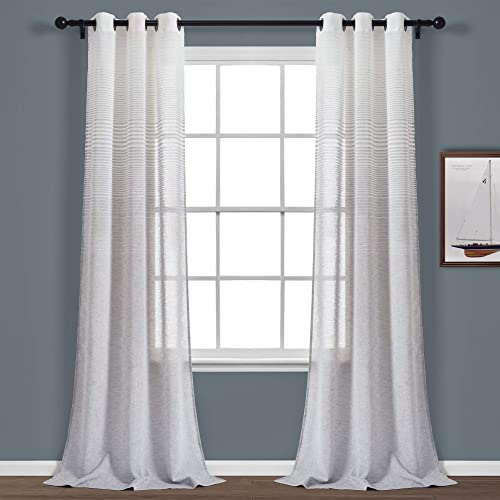 Lush Decor Gray Ombre Striped Grommet Sheer Window Curtain Panel Pair 84″ x 38″