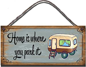 Gigglewick Gifts Funny Sign Shabby Chic Wooden Wall Plaque New Home is Where You Park It Caravan