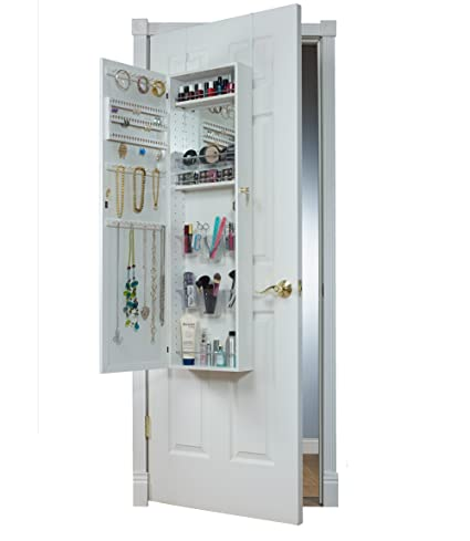 Exceptional Mirrotek Over The Door Combination Jewelry And Makeup Armoire, White
