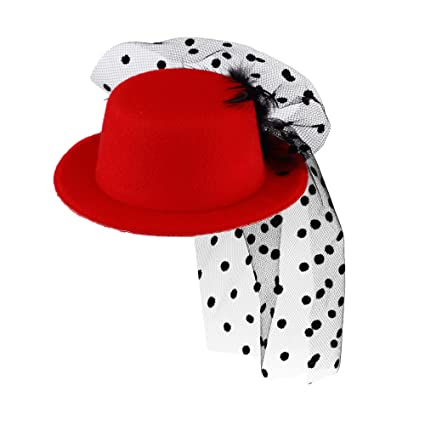 fed12060a5afa SOWEST Mini Victorian Burlesque Fancy Dress Weddings Top Hat Fascinator  Moulin Rouge Red  Amazon.co.uk  Toys   Games