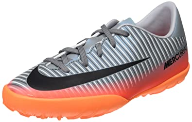Nike Kids Jr Mercurialx Vapor XI CR7 TF Football (Toddler Big), Cool Grey