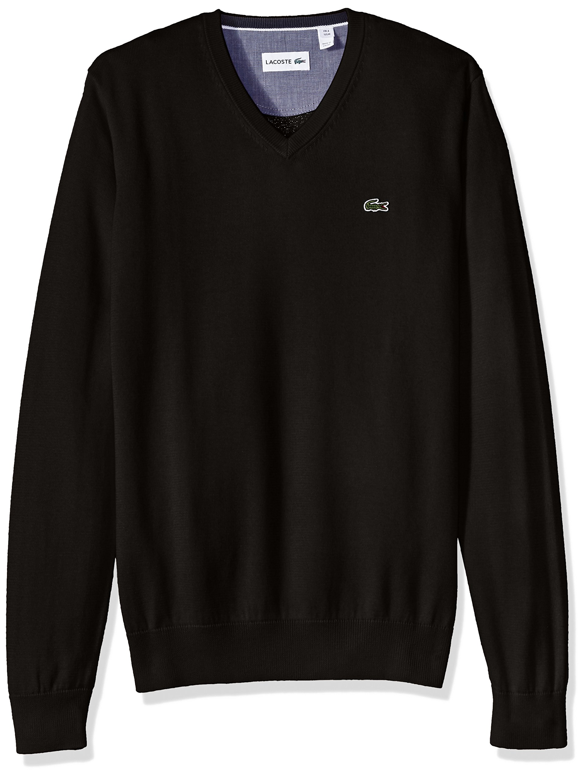 Lacoste Men's Cotton Jersey V-Neck Sweater, AH0347-51, Black, Small by Lacoste