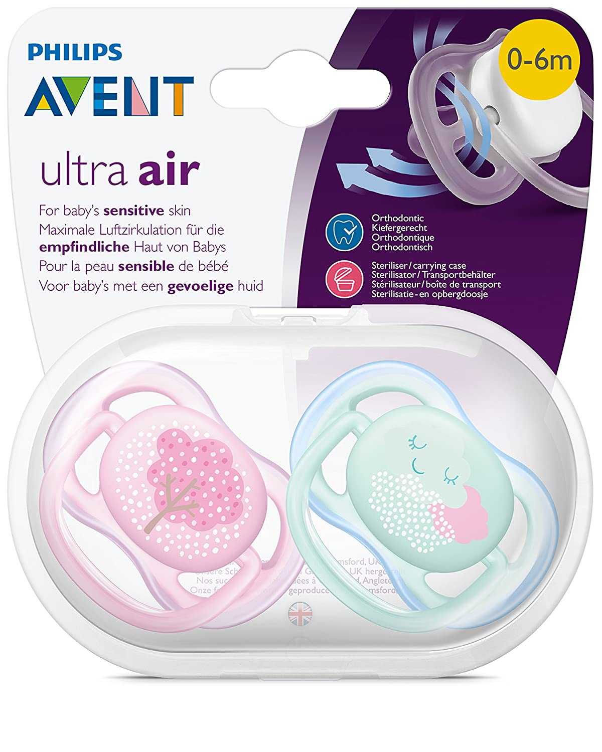 Philips Avent SCF343/20 - Pack con 2 chupetes Ultra Air decorados, de 0 A 6 meses, niña