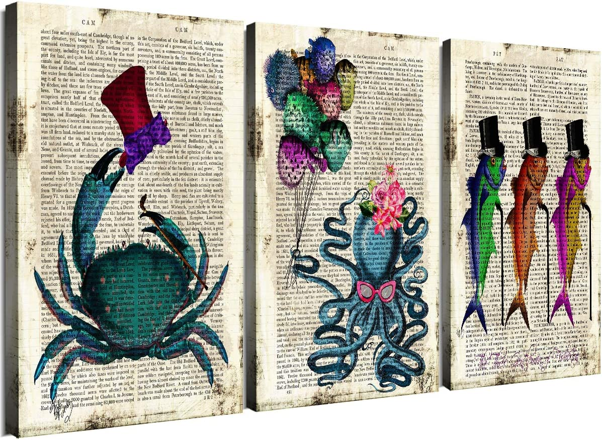 Ocean Animal Theme Bathroom Wall Decor Canvas Prints Home Art Sea Life Teal Mr Crab Hat Miss Octopus Ribfish Balloons Tuna Marine Fish Walking Stick Pictures Office Homes Decorations 3 Panels