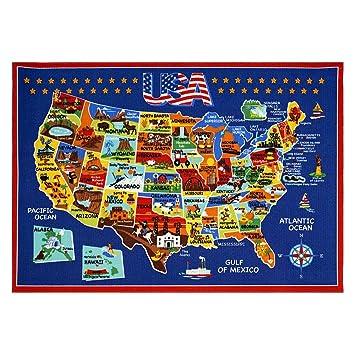 Amazoncom Smithsonian Rug US Map Learning Carpets Bedding Play - Us photo map mat