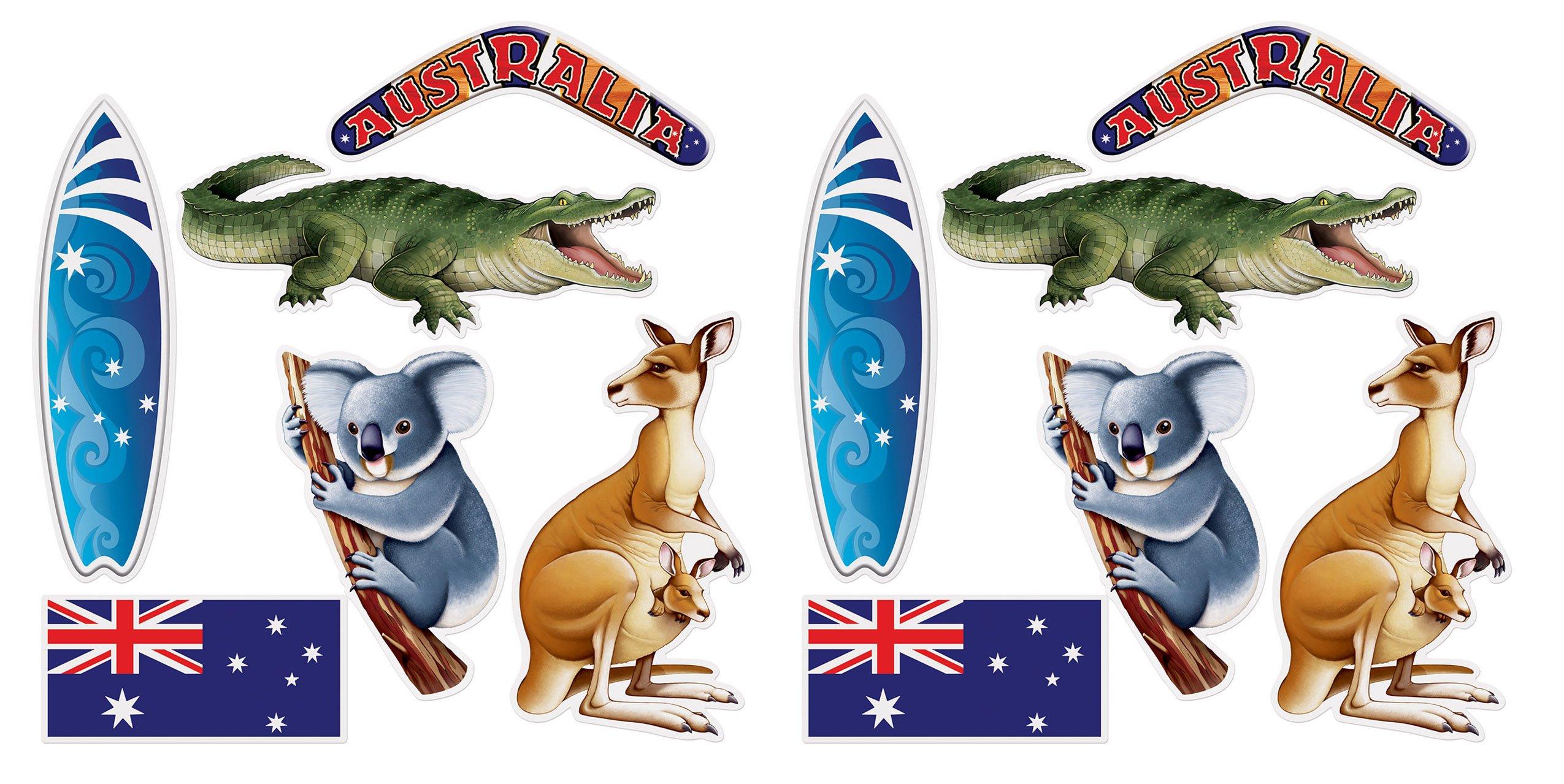 Beistle 54891 Australian Cutouts 12 Piece, 12.25''- 19.75'', Multicolored
