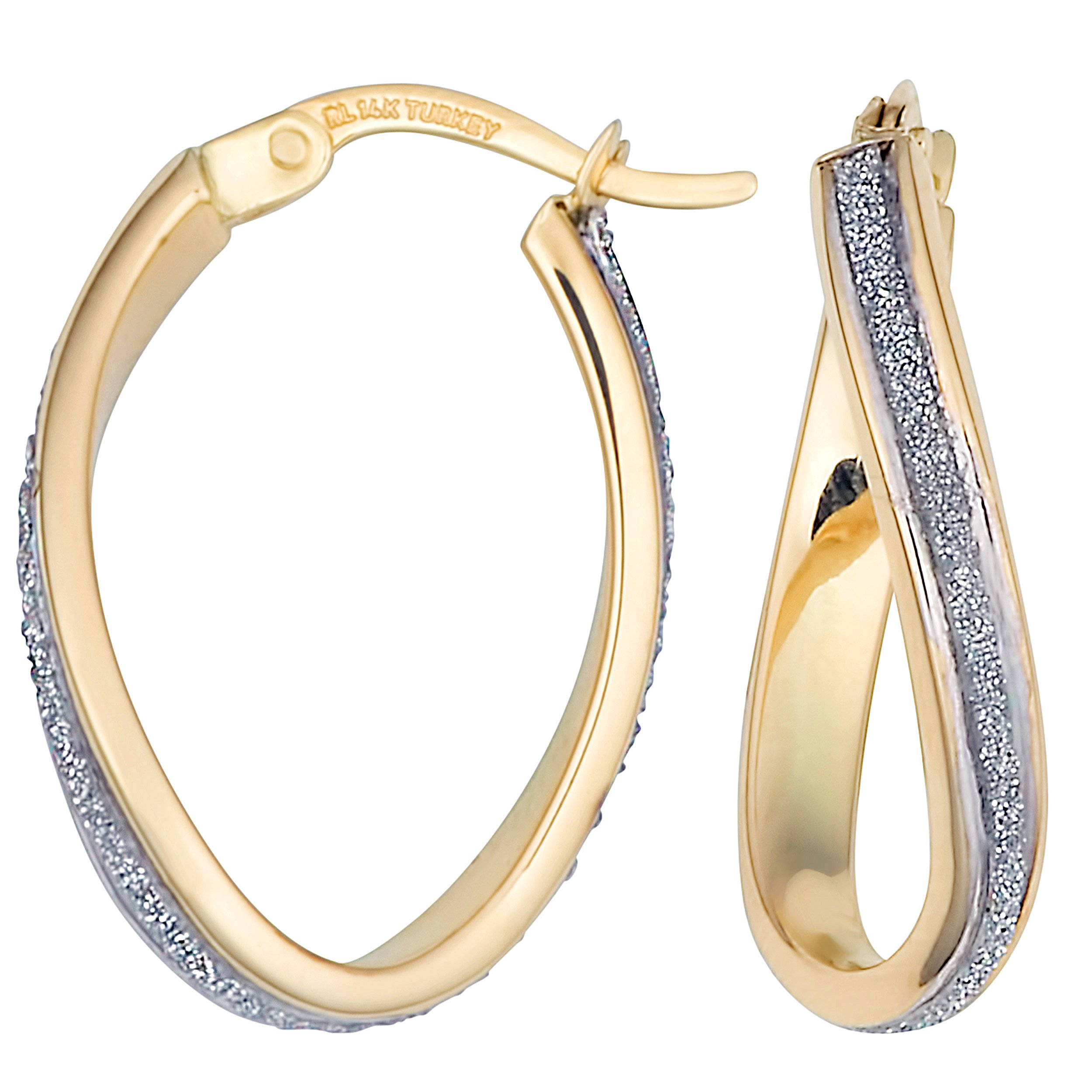 14k Two-tone High Polish And Glass Blast Finished Twisted Oval Hoop Earrings