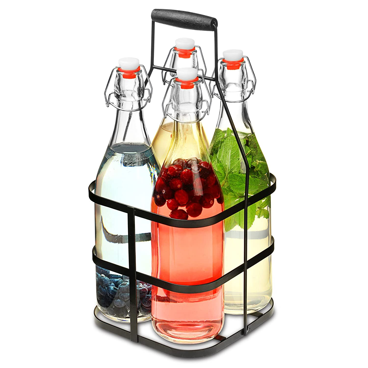 bar@drinkstuff Glass Clip Top Bottles with Metal Caddy 1ltr - Set of 4 Glass Swing Top Bottles in Metal Basket