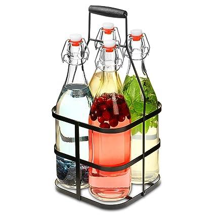 bar@drinkstuff Clip top frascos de cristal con metal caddy 1ltr – juego de 4 botellas de cristal hermético en cesta de metal