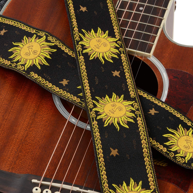 Guitar Strap Sun Design Jacquard Weave Guitar Strap with Double-Deck Leather Ends Ajustable for Bass Black Acoustic /& Electric Guitars