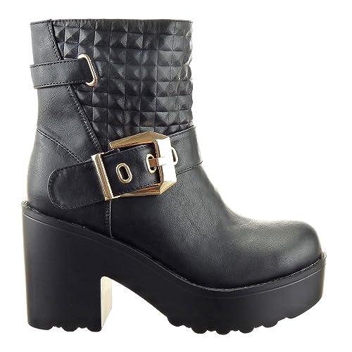 Sopily - Zapatillas de Moda Botines Cavalier Tobillo mujer zapato acolchado Hebilla 9.5 CM - plantilla