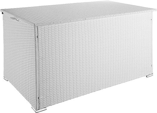 TecTake 800715 - Baúl de jardín de Almacenamiento Exterior 950 L de Resina Trenzada, Marco de Aluminio, Blanc | no. 403277: Amazon.es: Jardín