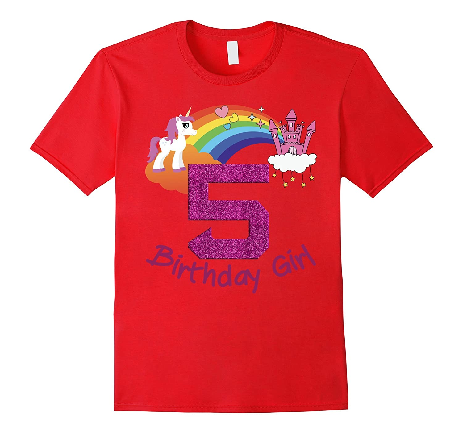 5th Birthday Girl Princess Rainbow Unicorn T Shirt Tee-RT
