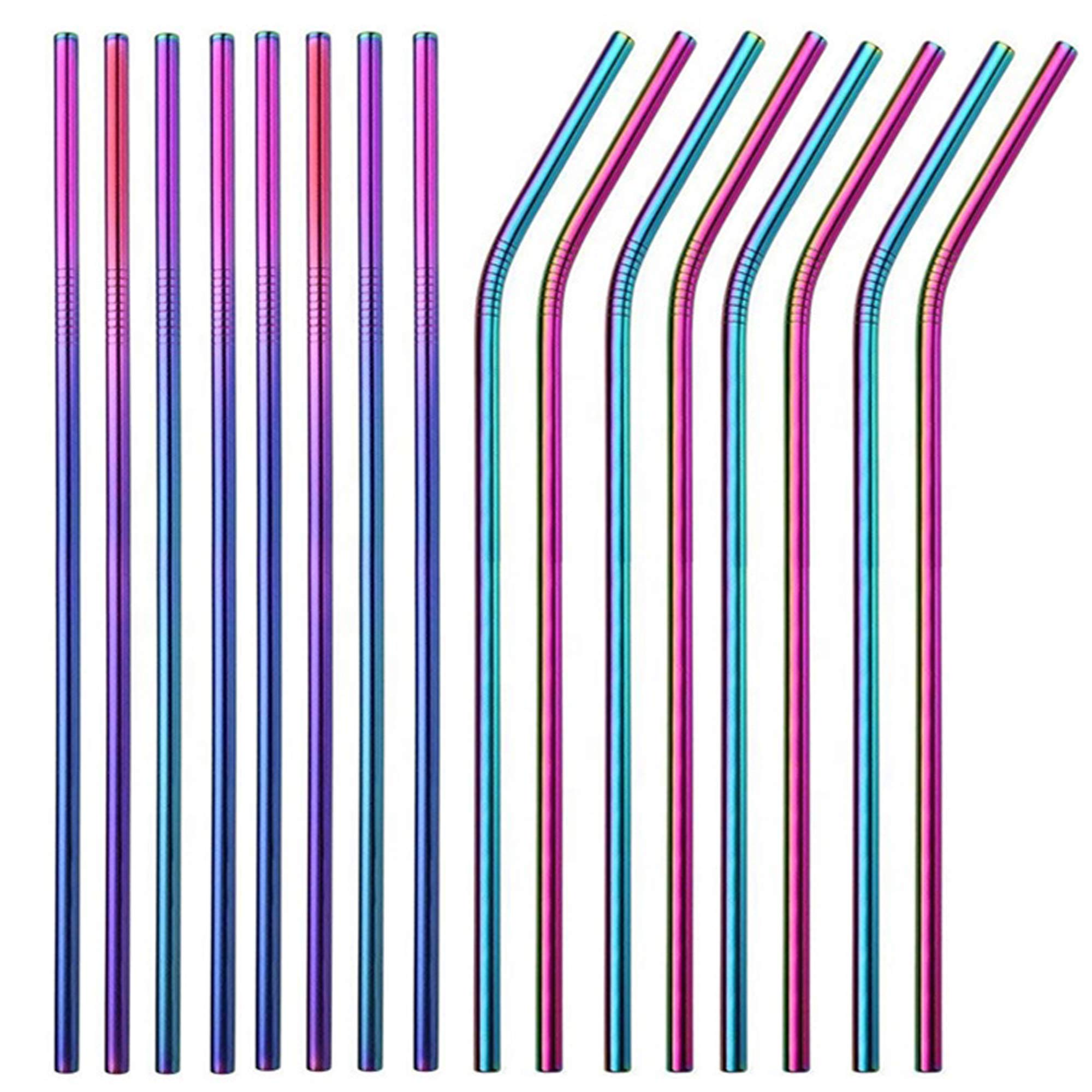 Brightbuy Set of 48 Stainless Steel Straws 10.5'' Reusable Metal Drinking Straws For 30oz Tumblers Yeti 6mm Diameter (24 Straight + 24 Bent) (Rainbow) by Brightbuy