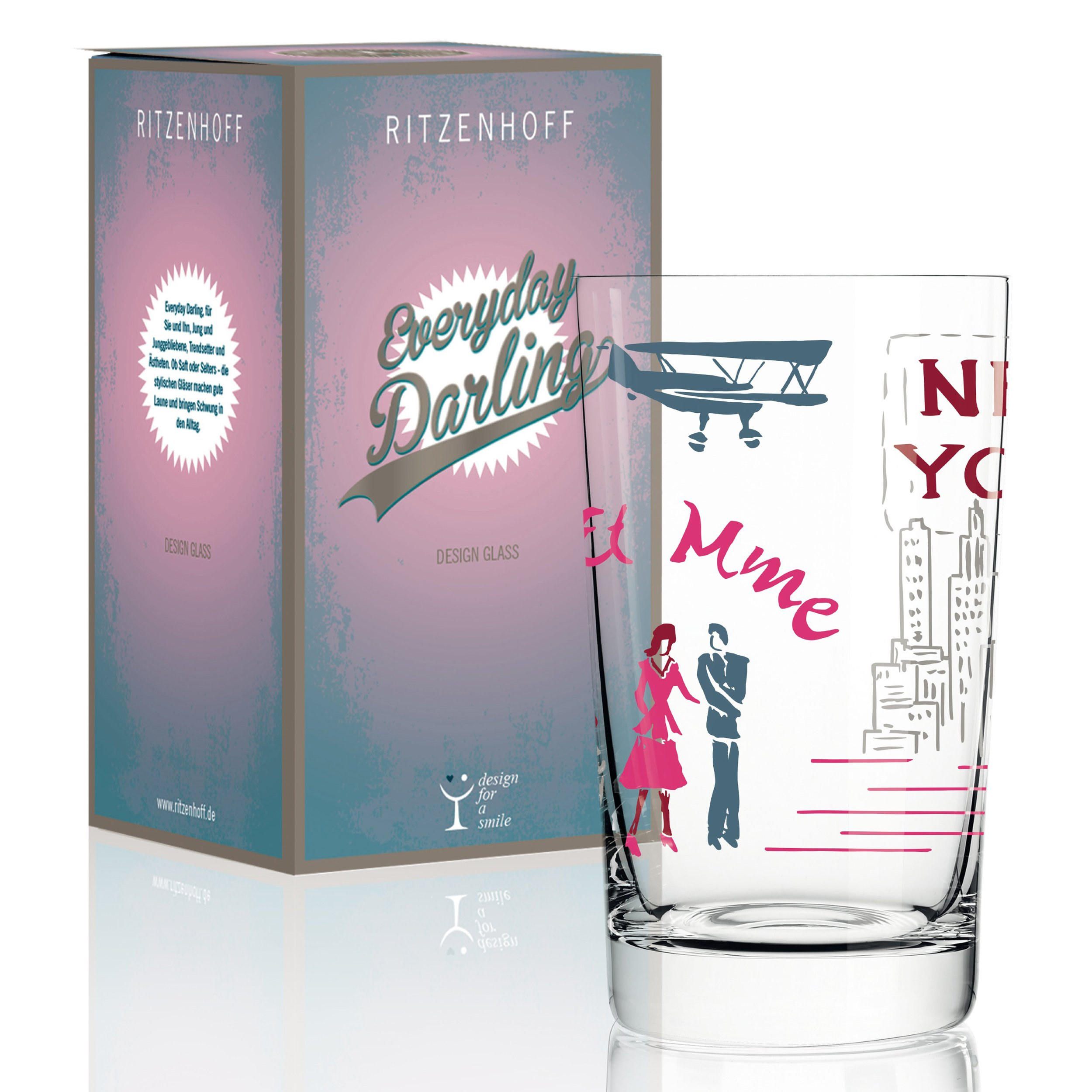 RITZENHOFF Everyday Darling Soft Drink Glass by Dominique Tage 300ml with Trendy Decorations