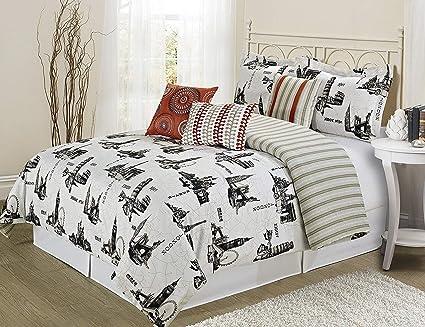 Soft Elegant Design 21078 Bedding 4 Piece Solid Comforter Set Navy /& Taupe