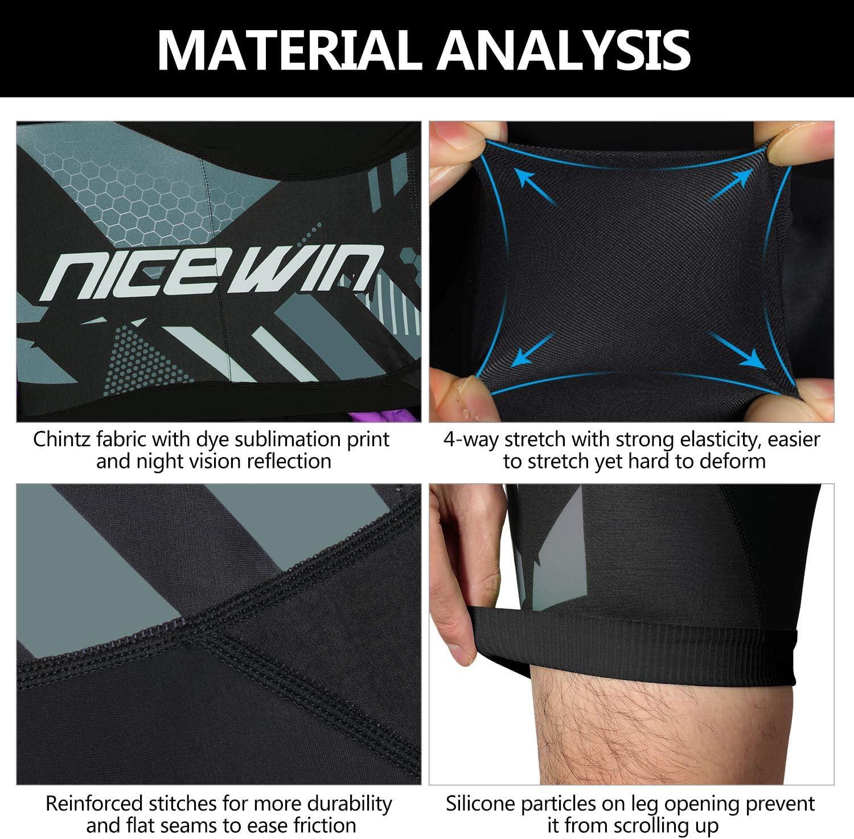 NICEWIN Pantalones Cortos de Ciclismo para Hombre Medias de Ciclismo para Motocicleta Pantalones Acolchados de Secado r/ápido 3D