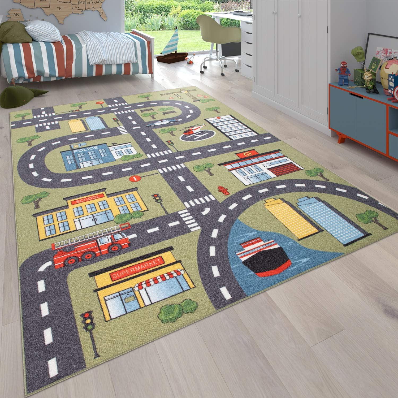 Paco Home Alfombra Infantil Cuarto Infantil Redonda Carreteras en Crema Pastel tama/ño:/Ø 120 cm Redondo