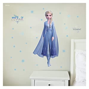 Disney Frozen 2 Wall Decals - Elsa Frozen Wall Decal with 3D Augmented Reality Interaction - Frozen Bedroom Decor for Girls