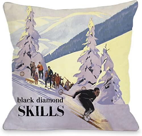 One Bella Casa Black Diamond Skills Vintage Ski Throw Pillow by OBC, 26 x 26 , Multi