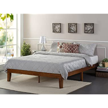 Zinus 12 Inch Wood Platform Bed/No Boxspring Needed/Wood Slat Support/Cherry Finish, Queen