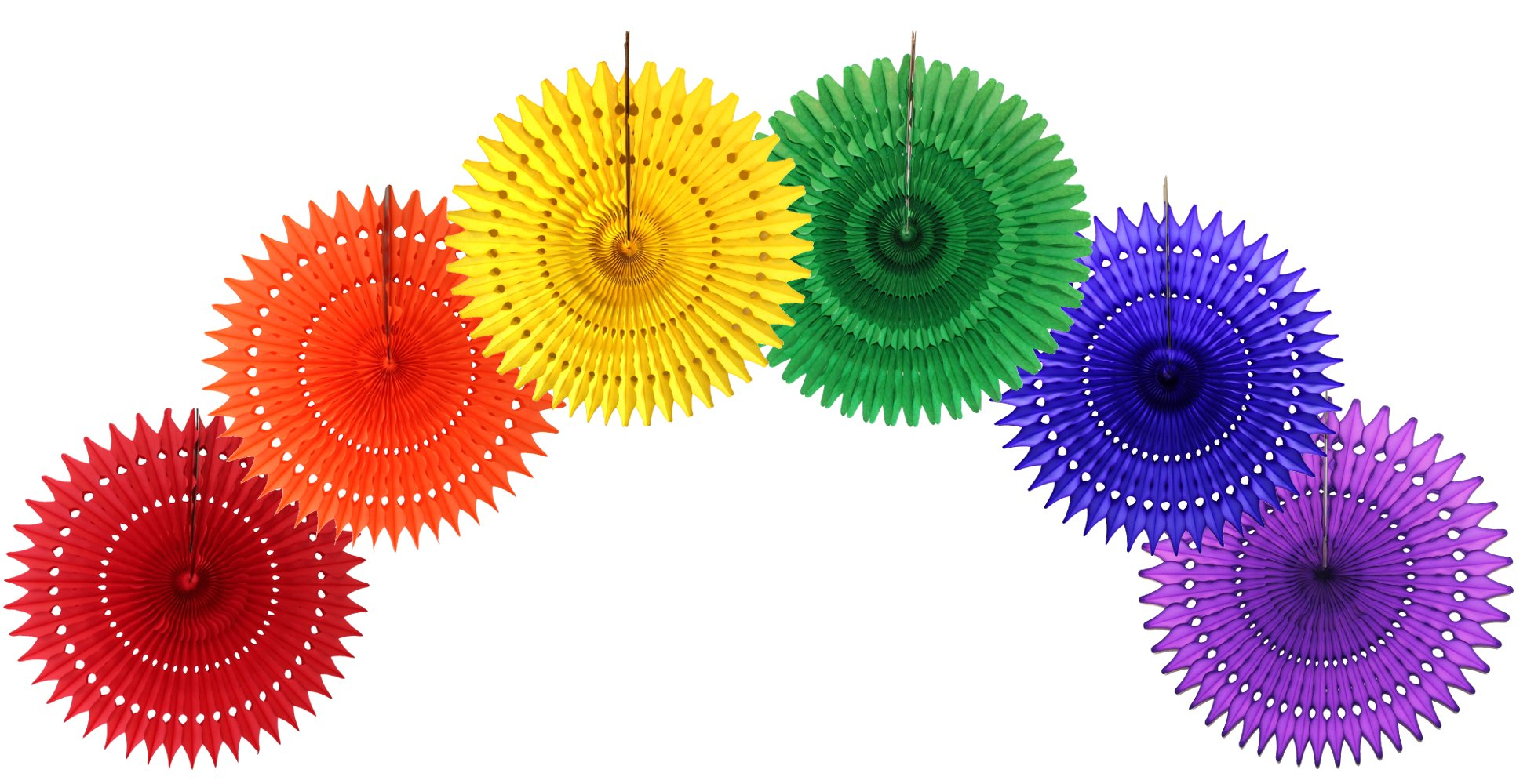 Large 21 Inch Classic Rainbow Party Decorations (6 Fans)