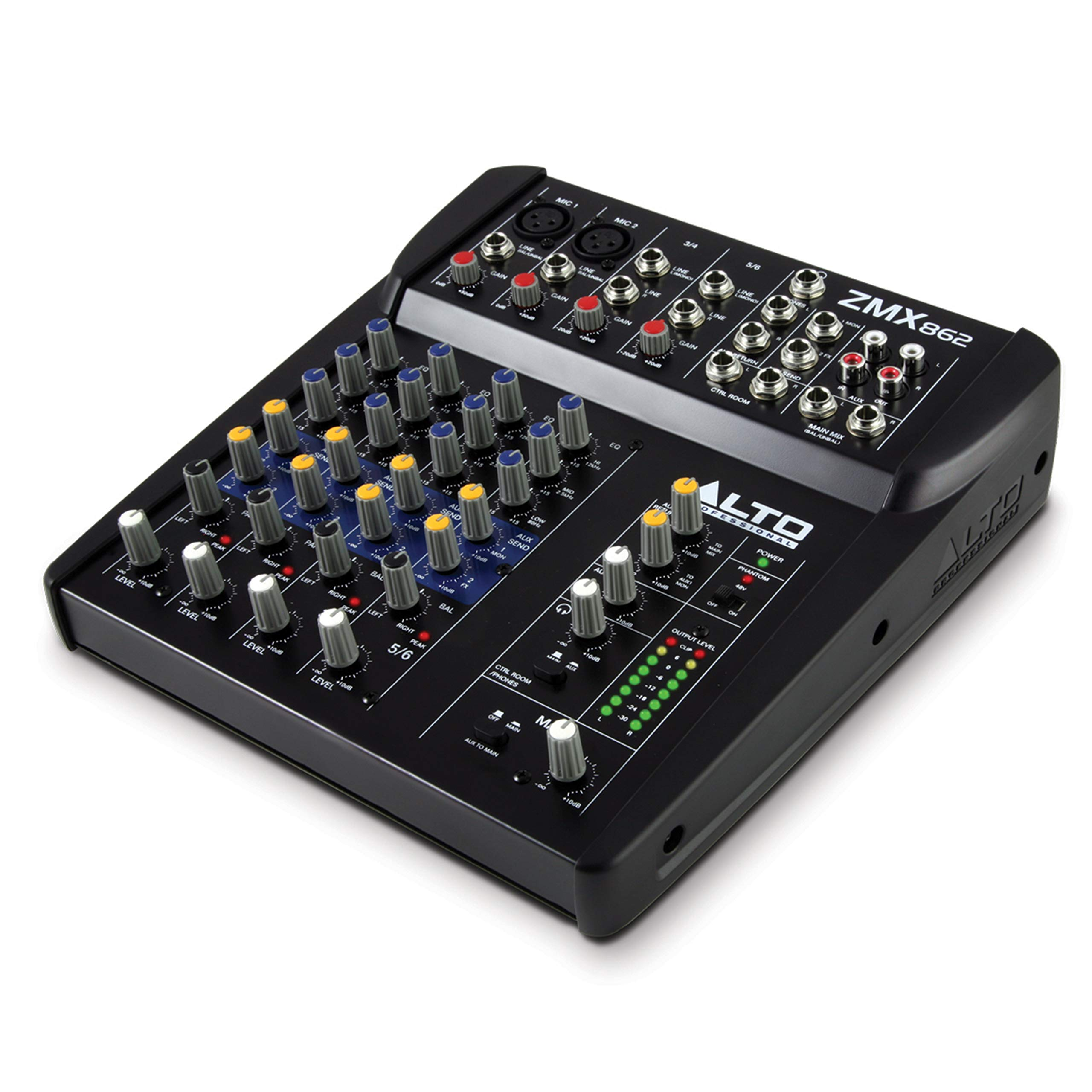 Alto Professional ZMX862 | Studio Quality 6 Channel Compact Audio Mixing Desk with Two XLR Microphone Inputs, Two Stereo Inputs and Two Aux Outputs