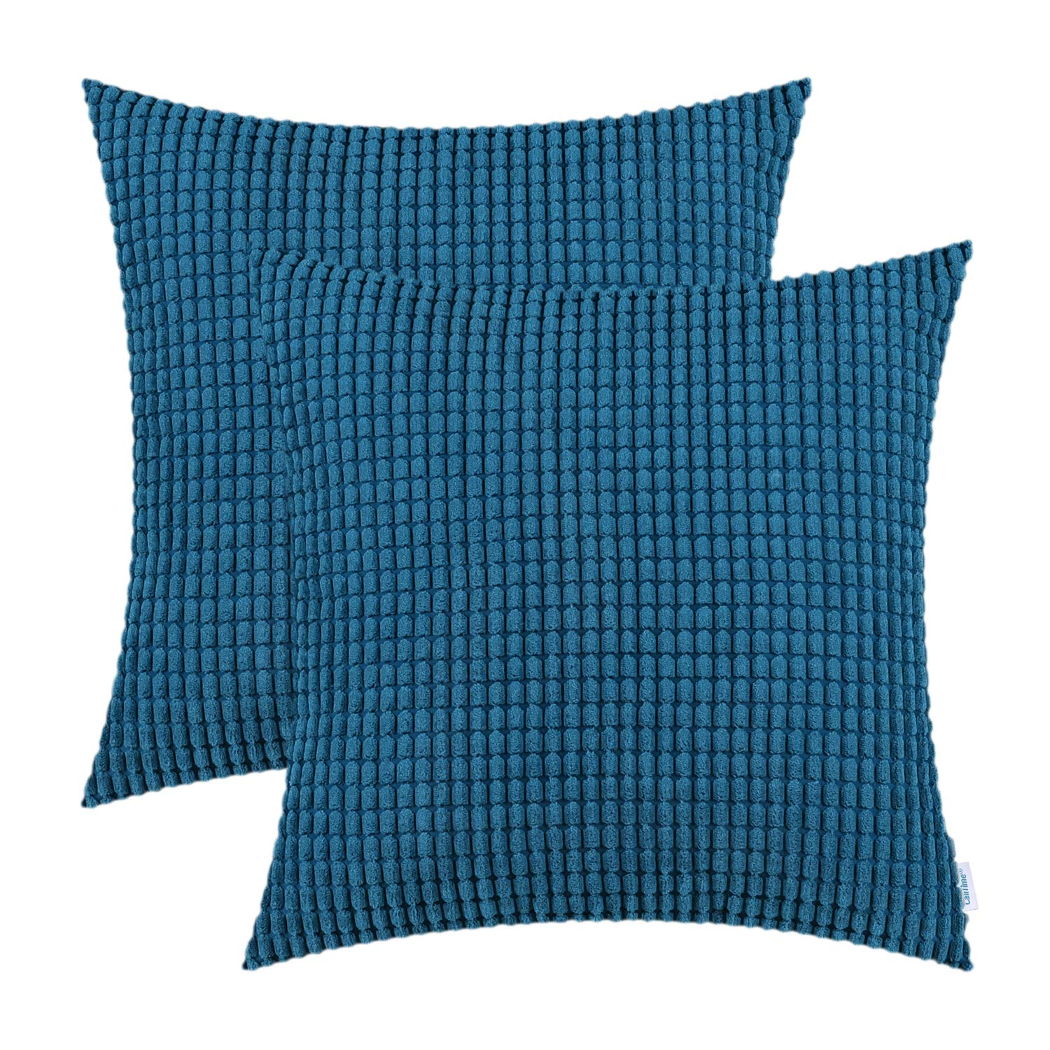 CaliTime Pack of 2 Comfy Throw Pillow Covers Cases for Couch Sofa Bed Decoration Comfortable Supersoft Corduroy Corn Striped Both Sides 18 X 18 Inches Ocean Blue