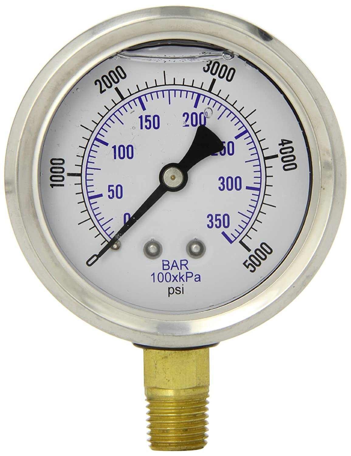 PIC Gauge PRO 201L 254R Glycerin Filled Industrial Bottom Mount Pressure Gauge with Stainless Steel Case Brass Internals Plastic Lens 2 1 2 Dial Size 1 4 Male NPT 0 5000 psi