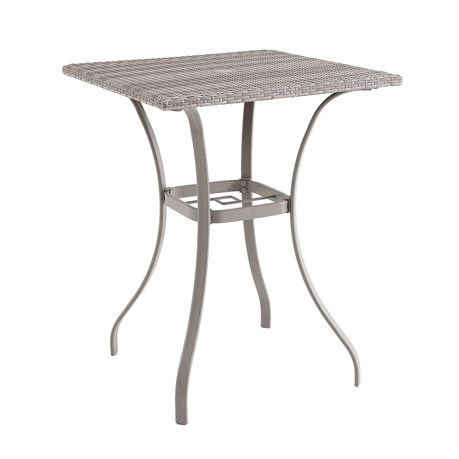 Royal garden gray wicker patio balcony table with umbrella hole high bistro balcony table for apartment balconies and patios steel frame dining table