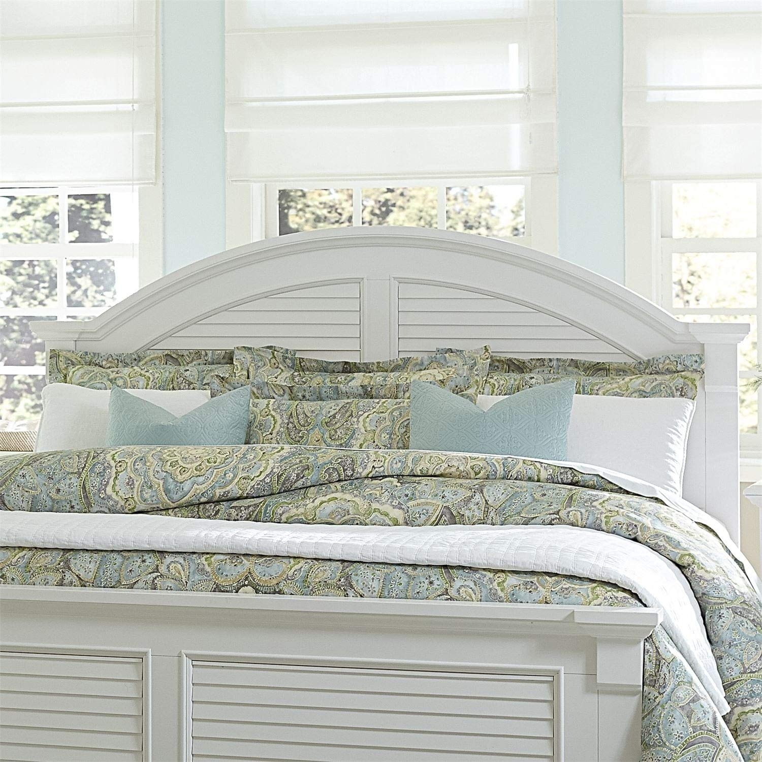 Summer House I Oyster White King Panel Headboard French Country Modern Contemporary Pine Wood by Unknown