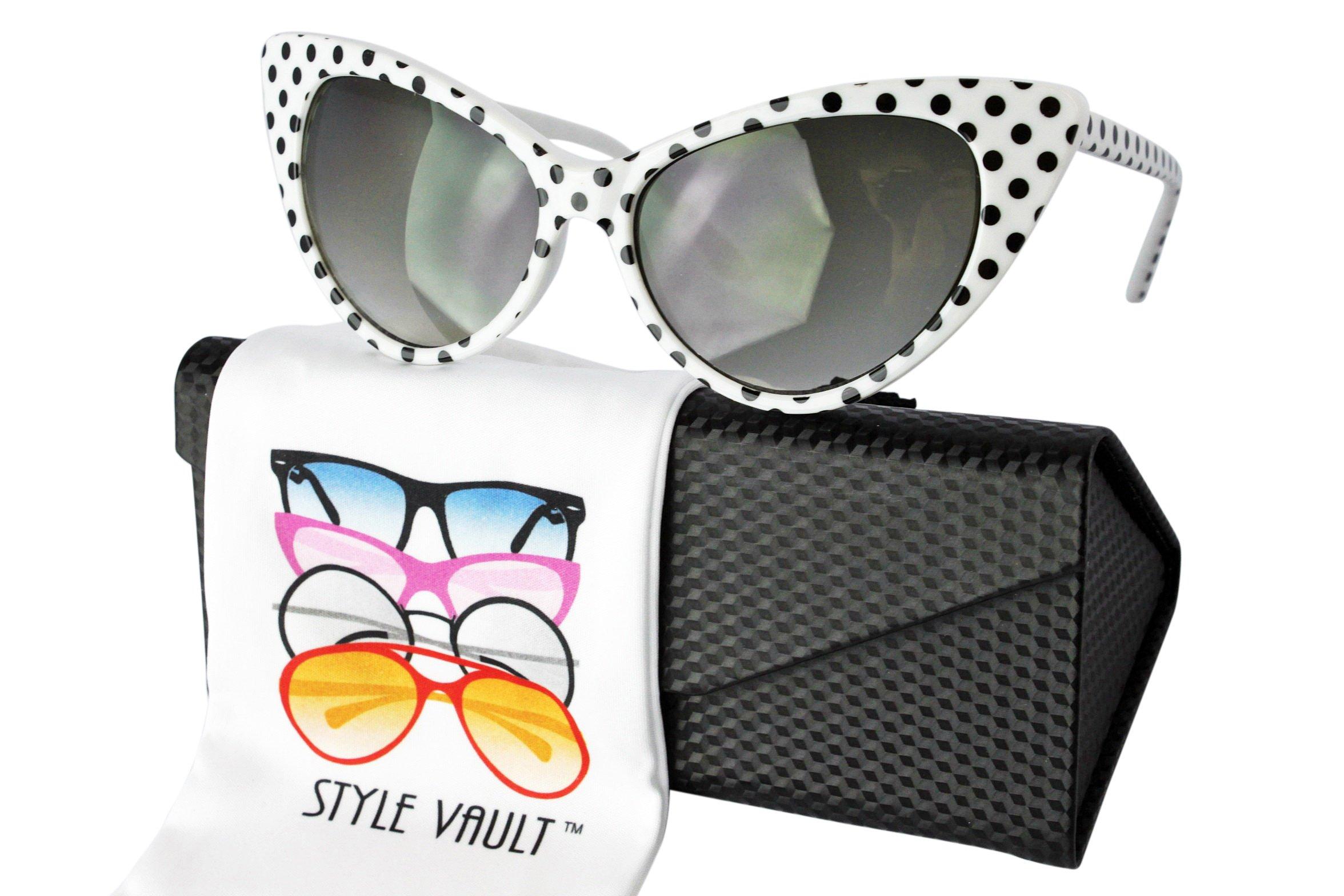 Wm508-ec Style Vault Cateye Sunglasses (S3235V Polka dots White w/case, uv400)
