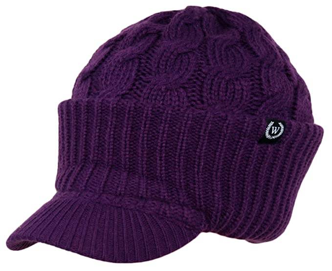 Image Unavailable. Image not available for. Color  Newsboy Cable Knitted Hat  with Visor Bill Winter Warm Hat for Women (Purple) 20375d861385