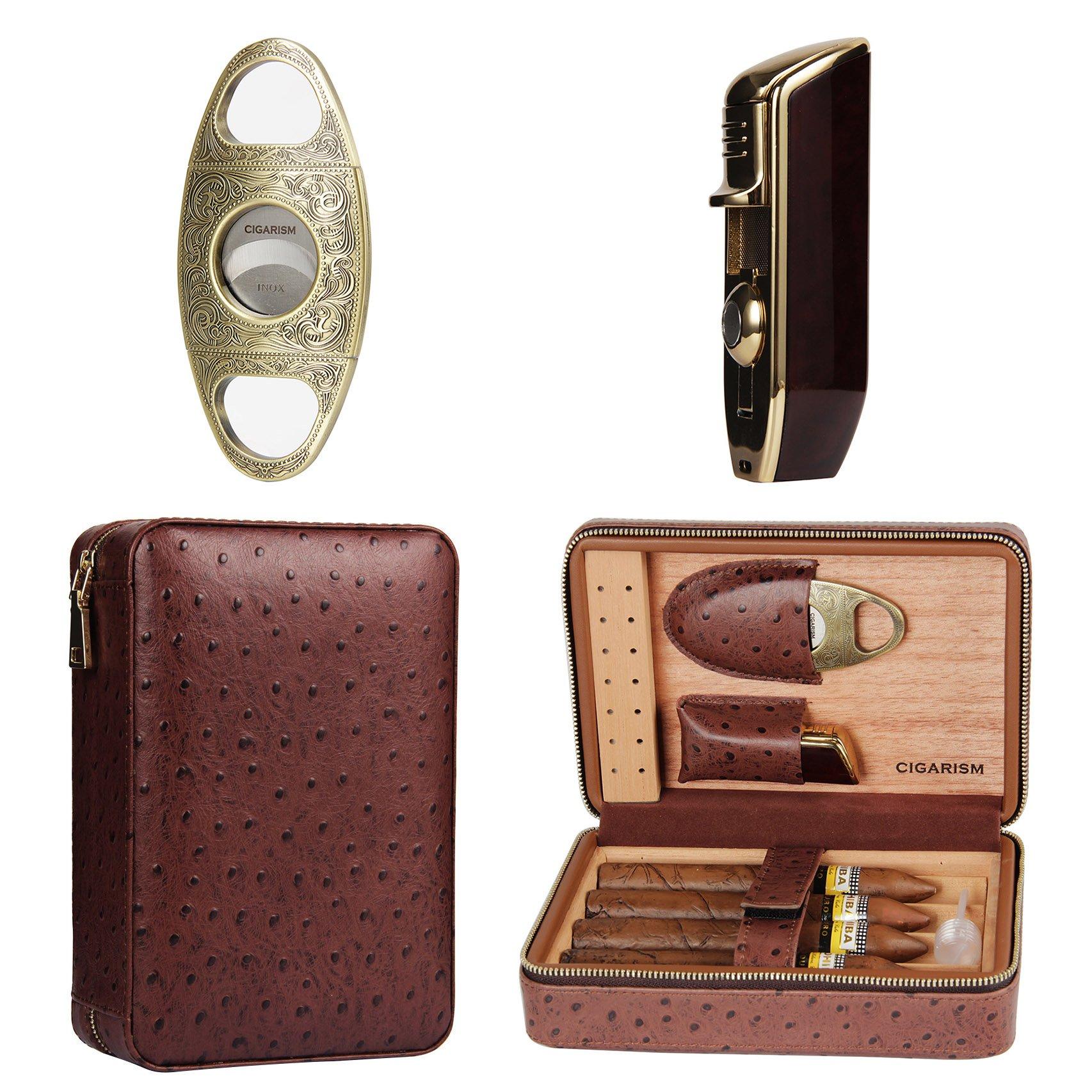 CIGARISM 4 Count Ostrich Pattern Genuine Leather Cedar Cigar Travel Case Humidor Lighter Cutter Set