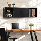 FITUEYES Wall Mounted Desk Hutch with Door, Modern Floating Console Media Cabinet,HT310401WB